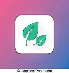feuilles, vecteur, icône