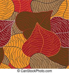 feuilles, vecteur, seamless
