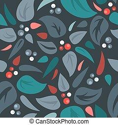 feuilles, vecteur, seamless, fond, baies