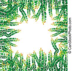 feuilles, vecteur, vert, cadre