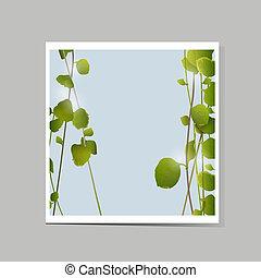 feuilles, vecteur, vert, carte