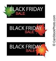 feuilles, vendredi, vente, noir, bannière, érable