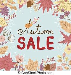 feuilles, vente, illustration, automne, vecteur, conception, fond, automne, bannière