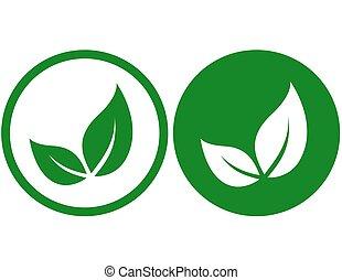 feuilles, vert, icônes