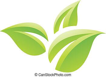 feuilles, vert, lustré, icône