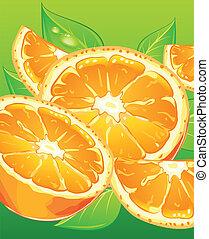 feuilles, vert, oranges