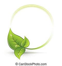 feuilles, vert, rond, cadre