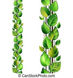 feuilles, vert, seamless, branche