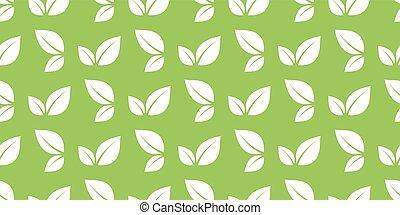 feuilles, vert, seamless