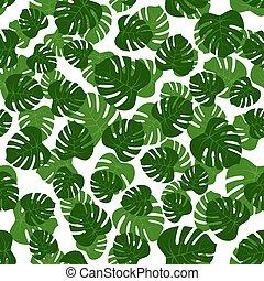 feuilles, vert, seamless, monstera