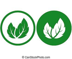 feuilles, vert, signe