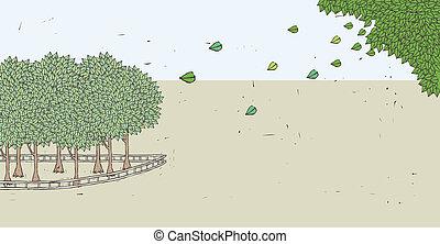 feuilles, vert, tomber