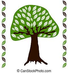 feuilles vertes, arbre, blanc