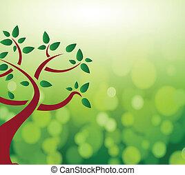 feuilles vertes, arbre, concept., nature