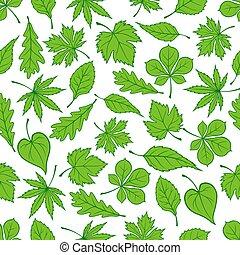 feuilles vertes, arbre, seamless, modèle