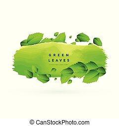 feuilles vertes, bannière, fond, conception
