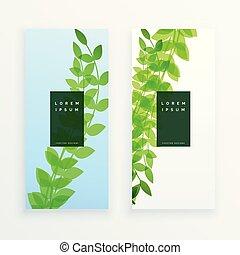 feuilles vertes, bannière, vertical, conception