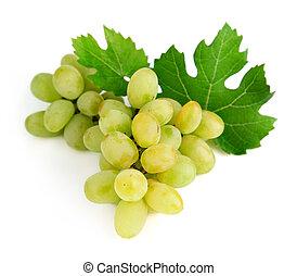 feuilles vertes, frais, raisin, fruits