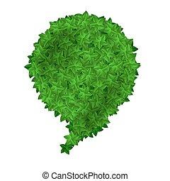 feuilles vertes, parole, bulles, isolé
