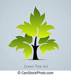feuilles vertes, vecteur, arbre, icône