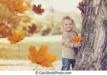 feuilles, voler, jour, jaune, jouer, automne, chaud, enfant, amusement, portrait, sourire, avoir, érable, heureux