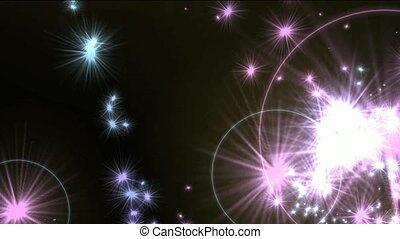 feux artifice, étoiles, halo, jet