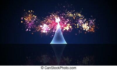feux artifice, arbre, verre, animation, noël, boucle