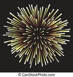 feux artifice, arrière-plan noir, jaune