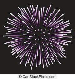 feux artifice, arrière-plan noir, lilas