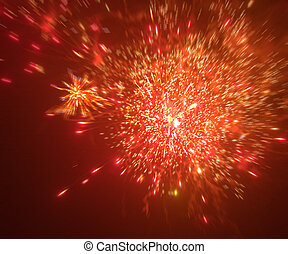 feux artifice, arrière-plan rouge