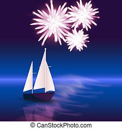 feux artifice, bateau, mer