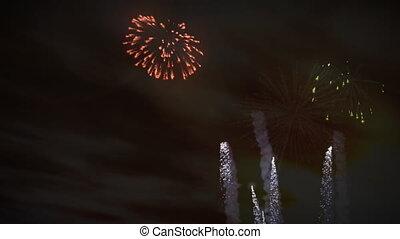feux artifice, célébration, coucher soleil