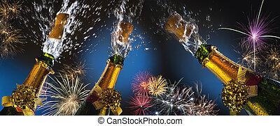 feux artifice, -, célébration, pétiller