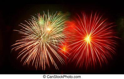 feux artifice, célébrer, festival