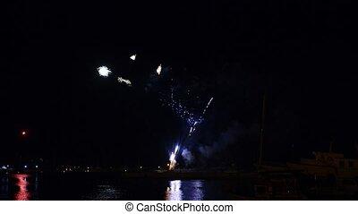 feux artifice, ciel, bateau