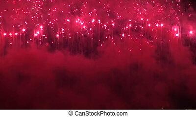 feux artifice, ciel, nuit
