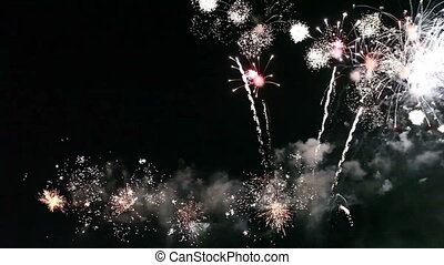feux artifice, coloré, célébration