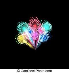 feux artifice, coloré