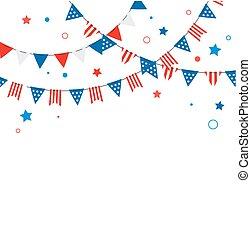 feux artifice, couleur, juillet, 4ème, américain, bannières, eclabousse, fond, rubans, jour, indépendance, célébration