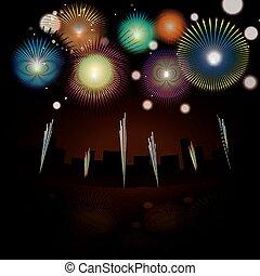 feux artifice, dans, en ville, soir