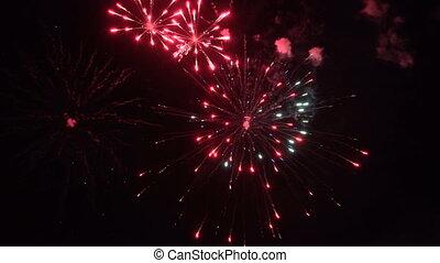 feux artifice, dans, les, ciel nuit