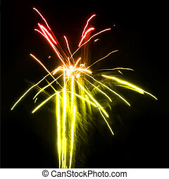 feux artifice, dans, les, nuit, sky., vecteur