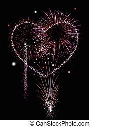 feux artifice, de, amour