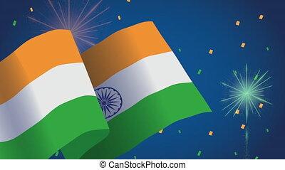 feux artifice, drapeau, indépendance, inde, jour