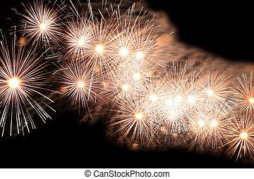 feux artifice, exploser, célébration