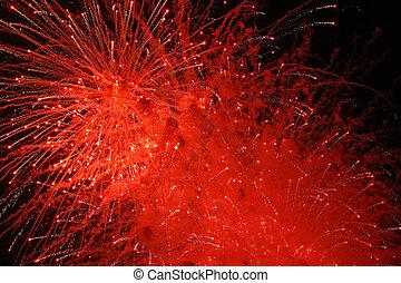 feux artifice, explosion, rouges