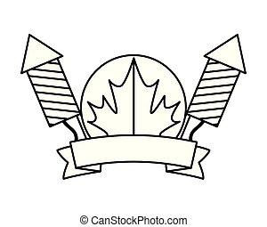 feux artifice, feuille, érable, canadien