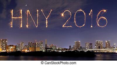 feux artifice, heureux, année, sur, nouveau, célébrer, tokyo, japon, 2016, cityscap