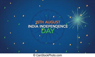 feux artifice, indépendance, lettrage, inde, jour
