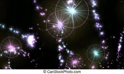 feux artifice, jet, éblouissant, étoiles